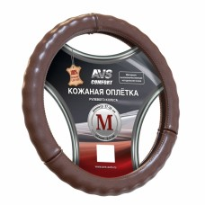 Оплетка на руль (размер M, коричневый) (натуральная кожа) AVS GL-665M-BR