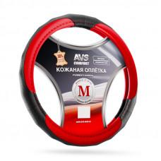 Оплетка на руль (размер M, красный) (натуральная кожа) AVS GL-910M-RD