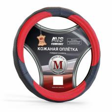 Оплетка на руль (размер M, красный) (натуральная кожа) AVS GL-910M-BRD