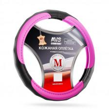 Оплетка на руль (размер M, розовый) (натуральная кожа) AVS GL-910M-PK