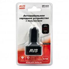 Автомобильное зарядное устройство USB с вольтметром (2 порта, 3.1А) (черный) AVS UC-523