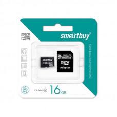 Карта памяти  MicroSD 16GB  Smart Buy Class 10 +SD адаптер
