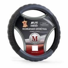 Оплетка на руль (размер M, черный) (натуральная кожа) AVS GL-940M-B