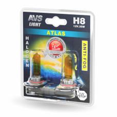 Галогенная лампа AVS /ATLAS ANTI-FOG/желтый H8.12V.35W.блистер-2шт.
