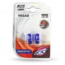 Лампа AVS Vegas в блистере 12V. W5W XENON EFFECT (W2,1x9,5d)- 2 шт.