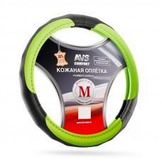 Оплетка на руль (размер M, зелёный) (натуральная кожа) AVS GL-910M-GR