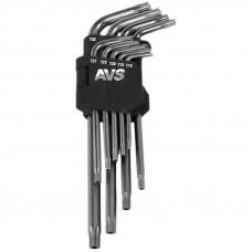 Набор ключей торцевых изогнутых TORX с отверстием 9 предметов (T10-T50) AVS TXL-9H