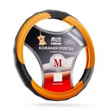 Оплетка на руль (размер M, оранжевый) (натуральная кожа) AVS GL-910M-OR