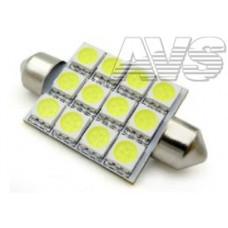 T11 SV021 /белый/(SV8,5/8) 12SMD 5050 41мм 3 chipблистер , блистер, 2 шт