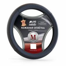 Оплетка на руль (размер M, черный) (натуральная кожа) AVS GL-930M-B